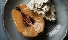 poached quince with gorgonzola cream in a bowl