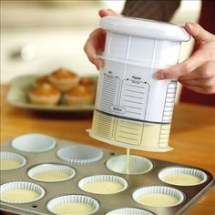 Batter dispenser for muffins, pancakes, etc. without the mess! Holy crap this is genious!