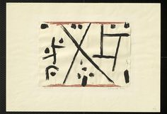 Paul Klee  'Law Providing Cross'  1937 Watercolor and distemper (A paint made with glue as a binder) on paper on cardboard