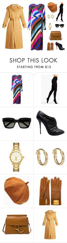 """Stripey Wrap Dress"" by edith-a-giles ❤ liked on Polyvore featuring Diane Von Furstenberg, Talbots, Yves Saint Laurent, Giuseppe Zanotti, Versace, Ileana Makri, Hermès, Chloé and Nina Ricci"