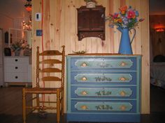 my new dresser I found last weekend for my cottage! LOVE it so!   a lady hand paints old ones and this is round dovetailed and pegged!