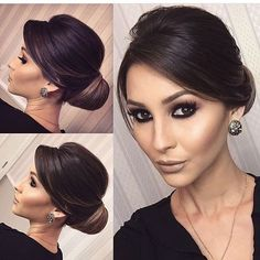 Glam updo and earrings Classy Hairstyles, Work Hairstyles, Bride Hairstyles, Pretty Hairstyles, Bridesmaids Hairstyles, Curly Hair Styles, Natural Hair Styles, Hair Upstyles, Wedding Hair And Makeup