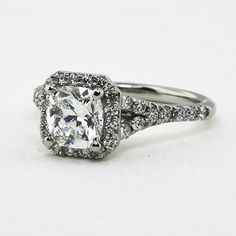 Custom Designed Platinum Engagement Ring with 1.00 ct. beyond conflict free cushion diamond.