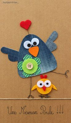 Une maman poule jeans recycle www toutpetitrien ch fleurysylvie Jean Crafts, Denim Crafts, Diy And Crafts, Crafts For Kids, Arts And Crafts, Sewing Crafts, Sewing Projects, Craft Projects, Applique Patterns