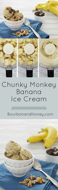 Chunky Monkey Banana Ice Cream | BourbonandHoney.com -- This no-churn vegan banana ice cream is delicious, quick and easy. It's great as a sweet summer treat or afternoon snack.     - Click through to read the full post or Repin to find later!