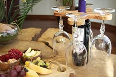 Handmade Olive Wood Wine Glass Holder, Wine Bottle&Glass Rack, Wine Accessory, Stemware Rack
