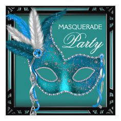 Black Teal Blue Mask Masquerade Party Personalized Announcements