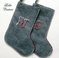 MONOGRAM Wool Felt Christmas Stockings by ModernStyleHoliday