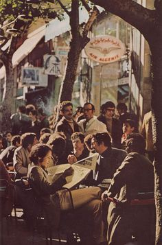 70's - Students on a café in downtown (Algiers, Algeria)