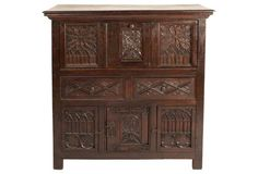 19th-C. Hand-Carved Drop-Down Desk