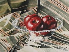 Apples in Candlewick original watercolor by Carrie Waller Watercolor ~ 24 x 18
