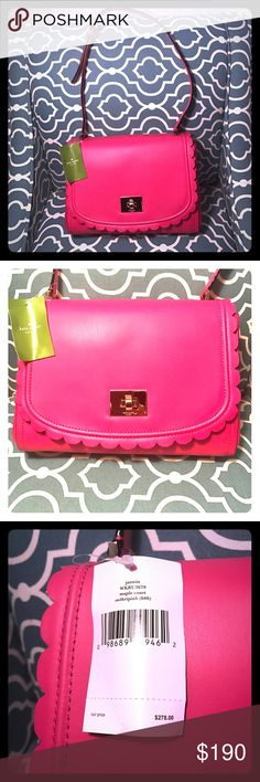 "Kate 💗 Spade purse Pretty in pink!! 💗 adorable shoulder bag, brand new with tags. Not bulky fits comfortably under arm, can hold a lot, inside zip pocket, 2 other pocket slots. Can hold full zip wallet easy. Make me an offer reg $278 dimensions- 10.5"" x 7"" x 3"" kate spade Bags Shoulder Bags"