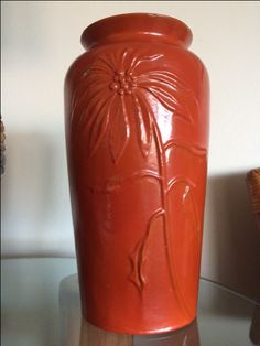 Catalina pottery poinsettia raised design vase, only one we know of