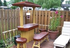 This patio is built to resemble a bar. It has the bar top and the stools around the top. This patio is best used when you have a gathering of family, friends or any other people really. This will mean less furniture coming out from the house to cater for occasions.