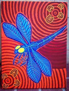 Blue dragonfly & red background vibrant  art Blue Dragonfly, Red Background, Mosaic, Vibrant, Artwork, Painting, Work Of Art, Painting Art, Paintings