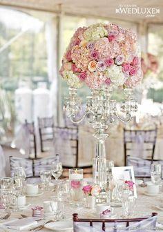 Luxury pink and lavender wedding flower candelabra centerpiece