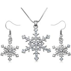 Silver Tone Crystal Snowflake Necklace and Dangle Earrings Jewelry Set... ❤ liked on Polyvore featuring jewelry, earrings, crystal pendant, bridal jewellery, snowflake earrings, dangle earrings and snowflake pendant