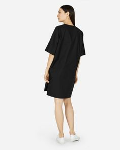 The Cotton Poplin Mid-Sleeve V-Neck Dress - Everlane