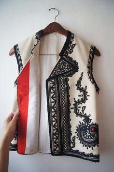 West Balkan Kalotszegi Romanian  Embroidery Vest Hungarian Handmade Embroidery White Black Folk hand made Athletic   free shipping