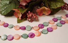 Multicolored Mother of Pearl Bead Necklace in by RomanticThoughts, $29.95