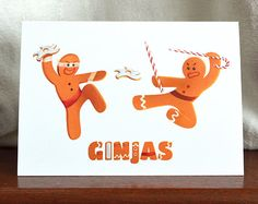 Ever seen gingerbread GINJAS on a season's greetings card?