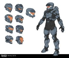 Unused MP armor sketches for Halo 5 Guardians, Sam Brown on ArtStation at https://www.artstation.com/artwork/AXmKo
