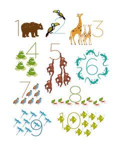 Safari / Jungle Animal Numbers Print 11 x 14 by theIrisandtheBee, $20.00