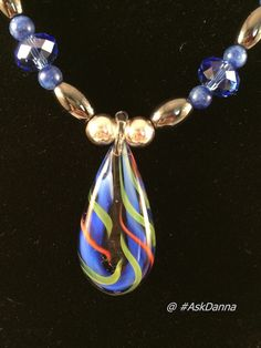 """OOAK Cobalt Blue GLASS 19.5"""" NECKLACE Earrings Set GREEN Pearlarized Silver JCG"""