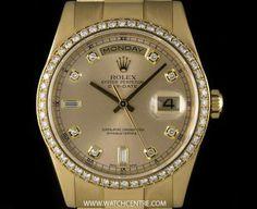Rolex 18k Yellow Gold O/P Champagne Dial Diamond Set Day-Date B&P 118348