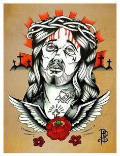 Tattooed Jesus Tattoo Flash Print by BROKENPUPPETTATTOO on Etsy, $15.00