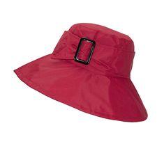 fa3a4de0 Cute Bucket Rain Hat w/Buckle Accent- 3.5 inch Wide Brim- Roll-Up Packable  - Red - C818595L6KS