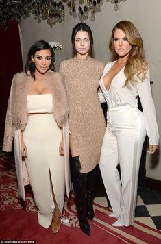Terrific trio: Kendall Jenner and Khloe Kardashian towered over their older sister Kim Kar...