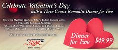 Celebrate #valentinesday2015 at #sitarnewhaven with a three-course romantic dinner for two!
