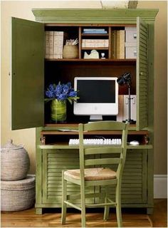 Repurposed #armoire into home office