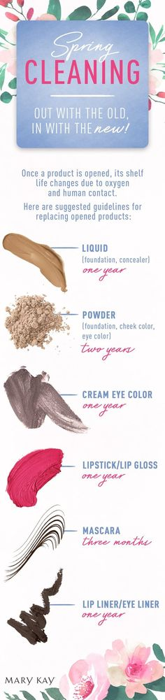 We're spring cleaning our makeup bag! From foundation to mascara, here's when you should replace your favourite beauty products. | Mary Kay