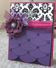 Gorgeous Congratulations Card...with purple scallops & pearls and dimensional flower.   Love the contrasting colors & designs.