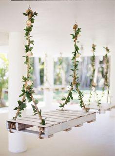 Fun with florals rustic weddng swings / http://www.deerpearlflowers.com/wedding-reception-decor-swing-ideas/3/