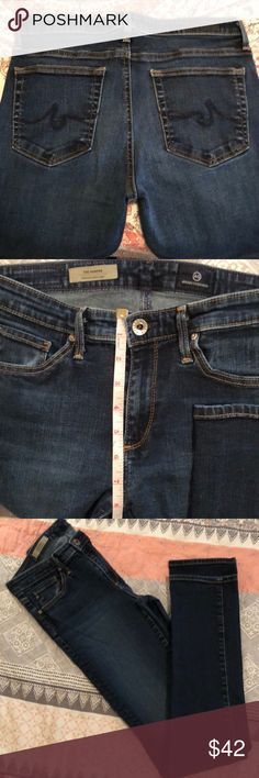 AG Adriano Goldschmied Jeans-26R The Harper Straight These are so comfy, can't fit in them anymore! They are in good condition with normal wear from washing.  No flaws, rips, tears or stains. Dark wash Waist 26 Inseam 31 Rise 8 Would say these are in between a straight and a skinny....looks great in boots or with heals! Ag Adriano Goldschmied Jeans Straight Leg