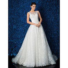 A-line Scoop Satin Chapel Train Wedding Dress – GBP £ 137.99