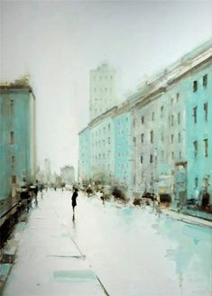 Geoffrey Johnson -  City Buildings Green, 2013. Oil on wood panel (more)