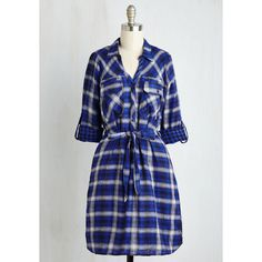 Scholastic Mid-length 3 Shirt Dress Backpacking Banquet Dress ($20) ❤ liked on Polyvore featuring dresses, apparel, blue, fashion dress, t-shirt dresses, long plaid shirt dress, mid length dresses, sash belt and plaid dresses