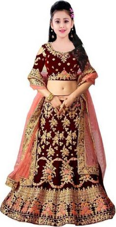 Lehnga Choli For Girls, Lehenga Choli, Kids Party Wear Frocks, 13th Birthday Party Ideas For Girls, 3rd Birthday, Indian Wedding Gowns, Girls Dresses Sewing, Maroon Color, New Fashion