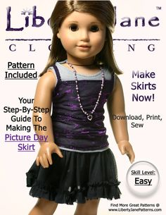 Liberty Jane Picture Day Skirt Doll Clothes Pattern by LibertyJane, $3.99