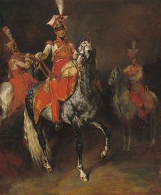 """Théodore Gericault, """"Mounted Trumpeters of Napoleon's Imperial Guard,"""" 1813/1814, oil on canvas, Chester Dale Fund"""