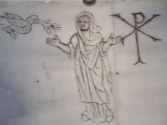 Early Christian funerary art from the Roman catacombs depicting the Chi-Roh symbol Christ figure and dove 3rd-5th century CE