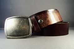 Vintage Brown Leather Belt Antique Silver by 4MLeatherDesign, $72.00