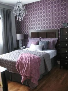 purple and silver guest bedroom.