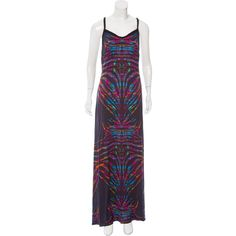Pre-owned Mara Hoffman Silk Maxi Dress ($65) ❤ liked on Polyvore featuring dresses, black, multi-color dress, patterned maxi dress, silk dress, pattern dress and colorful dresses