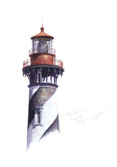 Pen Sketch, Watercolor Sketch, Drawing Sketches, Drawings, Lighthouse Drawing, Bridge Painting, Make Tattoo, Nautical Art, Covered Bridges