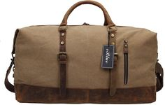 Iblue Upgraded Weekend Bag Canvas Leather Overnight Duffle Gym Totes